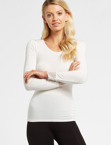 Lyric Thermals Mia Bamboo Long Sleeve Top, Ivory product photo