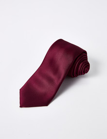 Laidlaw + Leeds Plain Satin Tie, 7cm, Burgundy product photo