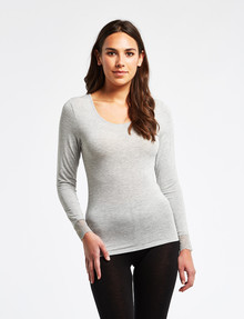Lyric Thermals Mia Bamboo Long-Sleeve Top, Light Grey Marl product photo