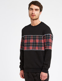 Tarnish Tartan Spliced Sweatshirt, Black, Size L product photo