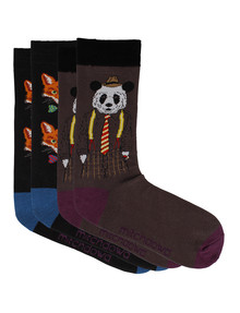 Mitch Dowd Panda & Fox Fashion Sock, 2-Pack, Brown & Black product photo