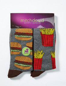 Mitch Dowd Junk Food Fashion Sock, 2-Pack, Grey product photo
