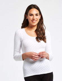 Lyric Thermals Harmony Cotton Pointelle Long-Sleeve Top, White product photo