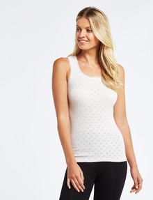 Lyric Thermals Harmony Cotton Pointelle Singlet, Oatmeal product photo