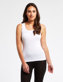 Lyric Thermals Harmony Cotton Pointelle Singlet, White product photo
