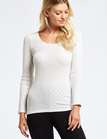 Lyric Thermals Harmony Cotton Pointelle Long-Sleeve Top, Oatmeal product photo