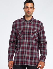 Chisel Check Long-Sleeve Twill Shirt, Maroon product photo