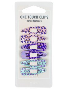 Mae One Touch Clips 4cm with Hearts, 6-pack product photo
