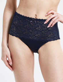 Lyric Microfibre & Lace Top Full Brief, Navy product photo