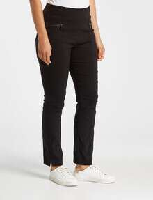 Ella J Shorter-Length Slim-Leg Pull-On Bengaline Pant, Black product photo