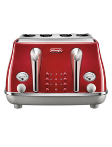 DeLonghi Icona Capitals 4 Slice Toaster, Red, CTOC4003R product photo