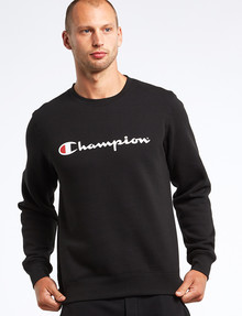 Champion Script Crew Neck Sweatshirt, Black product photo