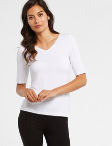 Bodycode Ballet Sleeve V Neck Tee, White product photo