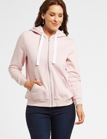 Ella J Zip-Through Hoodie Top, Pale Pink product photo