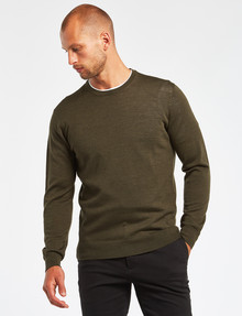 North South Merino Merino Crew Neck Jumper, Khaki product photo