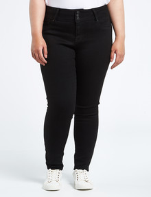 Denim Republic Curve Longer Length Skinny Jean, Black product photo