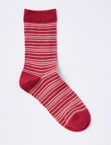 DS Socks Crew Merino-Blend Sock, Metallic Stripe, Burgundy & Dusky Rose product photo