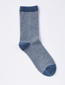 DS Socks Stripe Crew Merino-Cashmere Sock, Denim & Grey Marle product photo