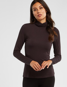 Bodycode Long Sleeve Roll Neck Top, Charcoal product photo