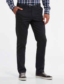 Savane Brushed Stretch-Cotton Flat-Front Pant, Charcoal product photo