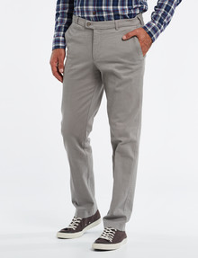 Savane Brushed Stretch-Cotton Flat-Front Pant, Fawn product photo