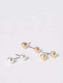 Whistle Textured Ball Stud Set, 3-Pack, Assorted product photo