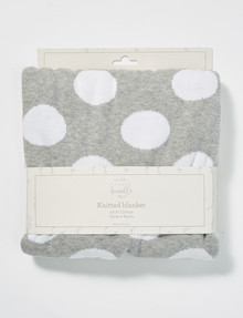 Little Bundle Jacquard Knitted Cotton Blanket, Grey & White product photo