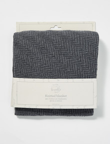 Little Bundle Cotton-Cashmere Knitted Blanket, Silver Grey product photo