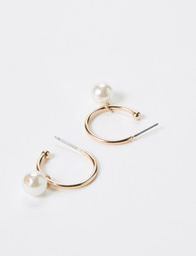 Whistle Jill Pearl Drop Hoops, Gold product photo