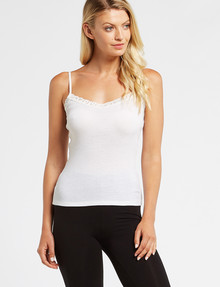 Essence Thermals Merino Cotton Lace Trim Cami, Cream product photo