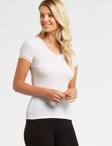 Essence Thermals Merino Cotton Lace Trim Short-Sleeve Top, Cream product photo