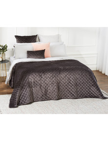 Kate Reed Lola Velvet Quilt, Charcoal product photo