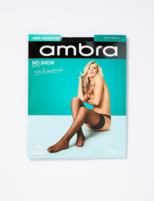 Ambra Stay Up No Show 15 Denier, Black product photo