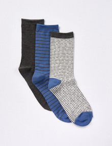 Lyric Houndstooth Lurex Quarter-Crew Sock, 3-Pack, Ivory, Denim & Charcoal product photo