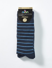 Harlequin Cotton Cushion Foot Sock, 3-Pack, Navy product photo