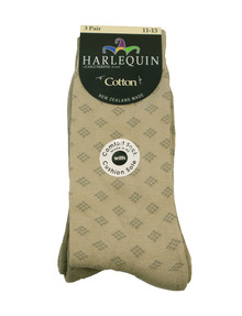 Harlequin Cotton Cushion Foot Sock, 3-Pack, Taupe product photo