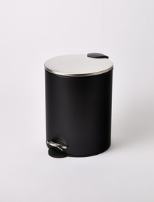 Haven Home Devon Round Pedal Bin, 5L, Black product photo