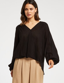 Whistle Textured Drape-Front Top, Black product photo