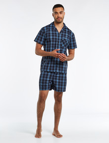 Chisel Woven Check Short PJ Set, Navy product photo
