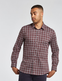 L+L Long-Sleeve Freehand Check Shirt, Burgundy product photo