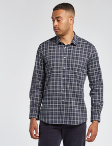 L+L Long-Sleeve Freehand Check Shirt, Navy product photo