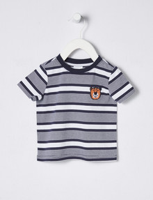 Teeny Weeny Tiger & Stripe Print Tee, Navy & White product photo