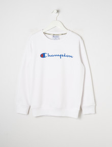 Champion Script Crew-Neck Sweatshirt, White product photo
