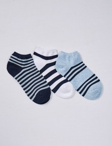 Simon De Winter Stripe Trainer Sock, 3-Pack, Light Blue, White & Navy product photo