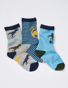 Simon De Winter T-Rex Crew Sock, 3-Pack, Blue, Grey & Green product photo