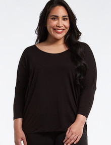 Bodycode Curve 3/4 Sleeve Batwing Top, Black product photo