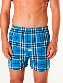 Mitch Dowd Harvey Check Stretch Woven Boxer Short, Blue product photo