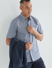 Line 7 Kalani Small Check Short-Sleeve Shirt, Navy & White product photo