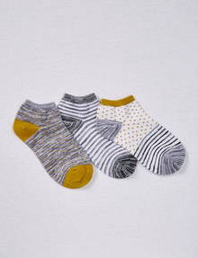 Simon De Winter Spot & Stripe Trainer Sock, 3-Pack, White & Grey product photo