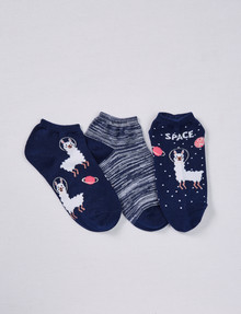 Simon De Winter Space Llama Trainer Sock, 3-Pack, Navy & Blue product photo